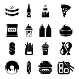 Fast food icons set, simple style Royalty Free Stock Photos