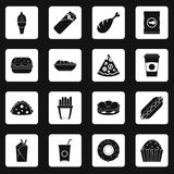 Fast food icons set squares vector vector illustration