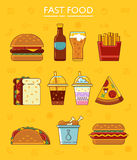 Fast food icons. Set. Vector illustration graphic Royalty Free Stock Photos