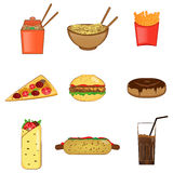 Fast food icons set, vector symbols. Colorful fast food icons set, vector image for your design and application Stock Image