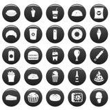 Fast food icons set vetor black. Fast food icons set. Simple illustration of 25 fast food vector icons black isolated Stock Photo