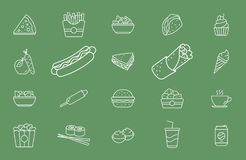 Fast Food Icons - Set Web and Mobile 01 stock illustration