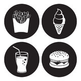 Fast food icons set. White on a black background Royalty Free Stock Image