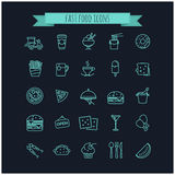 Fast food icons set. For your design, web royalty free illustration