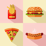 Fast food icons. Vector flat style icons set of fast food, junk food with long shadow. Cheeseburger, french fries, hot dog and slice of pizza Royalty Free Stock Image