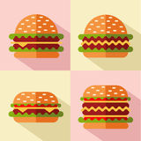 Fast food icons. Vector flat style icons set of fast food, junk food with long shadow. Four different types of hamburger or cheeseburger Royalty Free Stock Photos