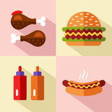 Fast food icons. Vector flat style icons set of fast food, junk food with long shadow. Hamburger or cheeseburger, chicken legs, ketchup and mustard, hot dog Royalty Free Stock Photography