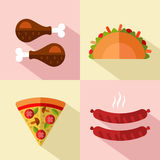 Fast food icons. Vector flat style icons set of fast food, junk food with long shadow. Tacos, chicken legs, slice of pizza, hot sausage Stock Photography