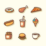 Fast food icons. Vector illustration Stock Photo