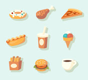 Fast food icons. Vector illustration Royalty Free Stock Photos