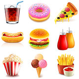 Fast food icons vector set Stock Photos