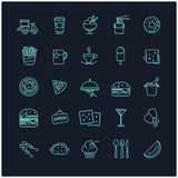 Fast food icons vector set. For your design Royalty Free Stock Image