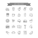 Fast food icons - vector stock set. For your design, web Royalty Free Stock Images