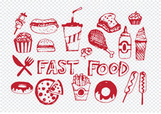 Fast food icons vector symbols Royalty Free Stock Image