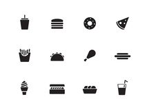 Fast food icons on white background. Vector illustration Royalty Free Stock Photos