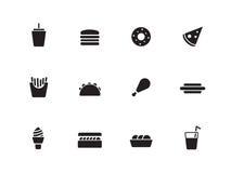 Fast food icons on white background. Vector illustration stock illustration