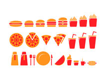 Fast food iconset. Icon set of fast food elements, useful for web design or menus/interior prints Royalty Free Stock Images