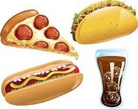fast food ikony Zdjęcia Stock