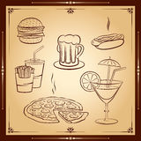 Fast food ikony set Ilustracja Wektor