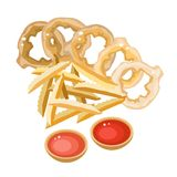 A Pile of French Fries and Onion Ring Stock Photography