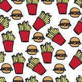 Fast Food. Illustration of hand drawn fast food icons Stock Photo