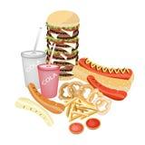 Set Odświeżający soda napoje, fast food i Zdjęcie Stock