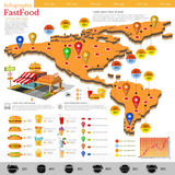 Fast food infographic. Map of America and Mexico with different info. Datas and plans of fast food location. Menu etc Royalty Free Stock Image