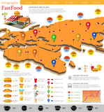 Fast food infographic. Map of Europe and Russia with different info. Datas and plans of fast food location. Menu etc Stock Image