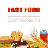 Fast food infographic seamless border banner. Quality fast food consumption health risk infografic seamless border print banner with burger sandwich donut vector Stock Image