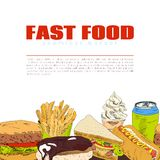 Fast food infographic seamless border banner Royalty Free Stock Photography