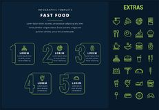 Fast food infographic template and elements. Fast food options infographic template, elements and icons. Infograph includes line icon set with fast food, pizza Royalty Free Stock Photography