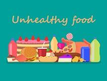 Fast food insalubre prejudicial colorido do montão do vetor ilustração stock