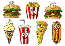 Fast food isolated cartoon characters Royalty Free Stock Photo
