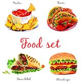 Fast food. Isolated objects on white background royalty free illustration