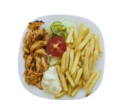 Fast food isolated on white. Chicken shaorma on a plate royalty free stock photo