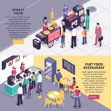 Fast Food Isometric Banners. Fast food horizontal banners with people in restaurant and near street carts buying pizza burgers and hot dog isometric vector royalty free illustration