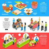 Fast Food Isometric Banners Set. Fast food restaurants streets mobile carts and home delivery orders menu 3 isometric horizontal banners vector illustration stock illustration