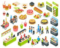Fast Food Isometric Cort Set. Shopping center indoor plaza fast food court with vendors and self-serve dinner menu isometric set vector illustration vector illustration