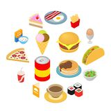 Fast food isometric 3d ikony ustawiać royalty ilustracja