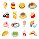 Fast food isometric 3d ikony ustawiać Obraz Royalty Free