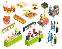 Fast Food Isometric Icons Set. Fast food cart cafe restaurant isometric icons collection with pizza grilled sausages and delivery packages isolated vector royalty free illustration