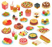 Fast Food Isometric Set. Fast food isometric icons set with pizza grilled potato hamburger  hot dog cake and other meals of quick cooking isolated vector Royalty Free Stock Photos