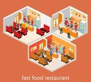 Fast food isometrico Fotografie Stock Libere da Diritti