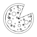 Fast food italian pizza black and white. Fast food italian pizza cartoon vector illustration graphic design vector illustration