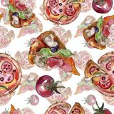 Fast food itallian pizza tasty food. Watercolor background illustration set. Seamless background pattern. Fast food itallian pizza tasty food. Watercolor royalty free stock photos