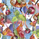 Fast food itallian pizza tasty food. Watercolor background illustration set. Seamless background pattern. Fast food itallian pizza tasty food. Watercolor stock photography