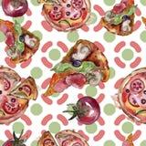Fast food itallian pizza tasty food. Watercolor background illustration set. Seamless background pattern. Fast food itallian pizza tasty food. Watercolor stock illustration