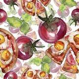 Fast food itallian pizza tasty food. Watercolor background illustration set. Seamless background pattern. Fast food itallian pizza tasty food. Watercolor royalty free illustration