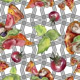 Fast food itallian pizza tasty food. Watercolor background illustration set. Seamless background pattern. Fast food itallian pizza tasty food. Watercolor vector illustration