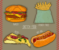 4 fast food items for restaurants menu. hand drawn illustration. vector Stock Image